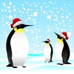 Penguin with noel cap — Stock Vector