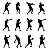 Boxing silhouettes set — Stock Vector