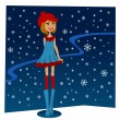 Winter girl — Stock Vector