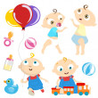 Baby with toy — Stock Vector #8999258