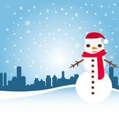 Snowman with city — Wektor stockowy