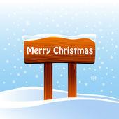 Muestra de madera con mensaje de navidad — Vector de stock