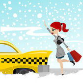 Woman catches a taxi — Stock Vector