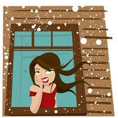 женщина ждет у окна — Cтоковый вектор