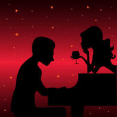 Piano player with woman — Stock Vector