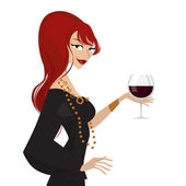 Woman with wine glass — Stock Vector
