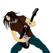 Rock guitarist playing on electric guitar — Stock Vector