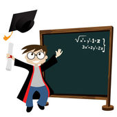 Graduate in classroom — Stock Vector