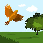 Bird with nature — Stock Vector