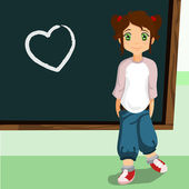 Student on the chalkboard with heart symbol — Stock Vector
