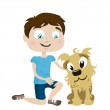 Boy with dog friend — Stock Vector