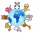 Animal around the globe — Image vectorielle