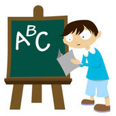 Student with chalkboard — Stock Vector