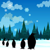 Penguins and trees — Stock Vector