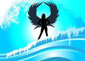 Frau mit flügeln — Stockvektor