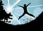 Springen — Stockvektor
