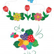Flowers and butterflies patch work — Stock Vector