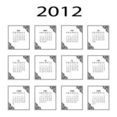 Template of a calendar of 2012 with the vintage elements — Stock Vector