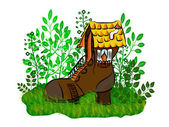 Small house a shoe — Stock Vector