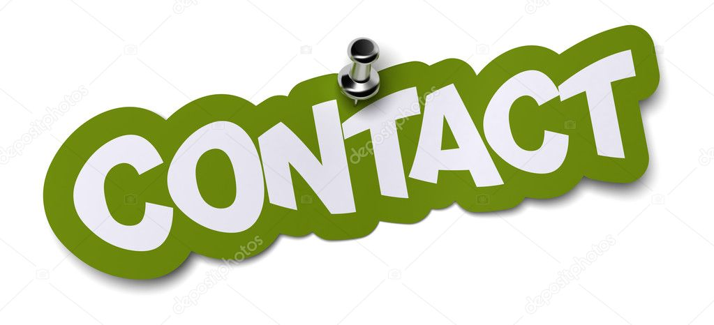Contact word written on a green sticker. Label is fixed onto a white wall by using a thumbtack — Stock Photo #8342195