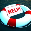 3d life ring floating on water as a help symbol — Stock Photo