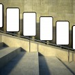 3d blank street advertising billboard, stairs - Foto de Stock
