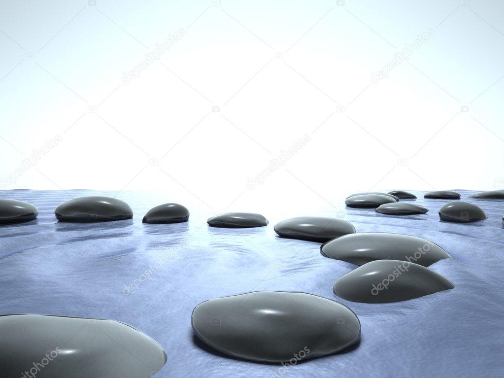 Piedras zen en cielo agua azul fotos de stock for Fotos piedras zen
