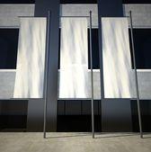 3d bandeiras em branco vazio publicidade na construção de parede — Foto Stock