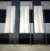 3d blank empty advertising flags on building wall — 图库照片