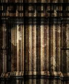 3d wooden wall, antique architecture background — Stockfoto