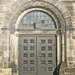 Stock Photo: Romanesque door in old church, detail