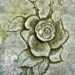 Old engraver rose in stone - Stock Photo