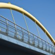 City Urban, Industrial Enviroment with Yellow Pipe, Bridge on Background of — Stock Photo
