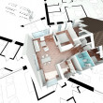 3D rendering house plan — Stock Photo
