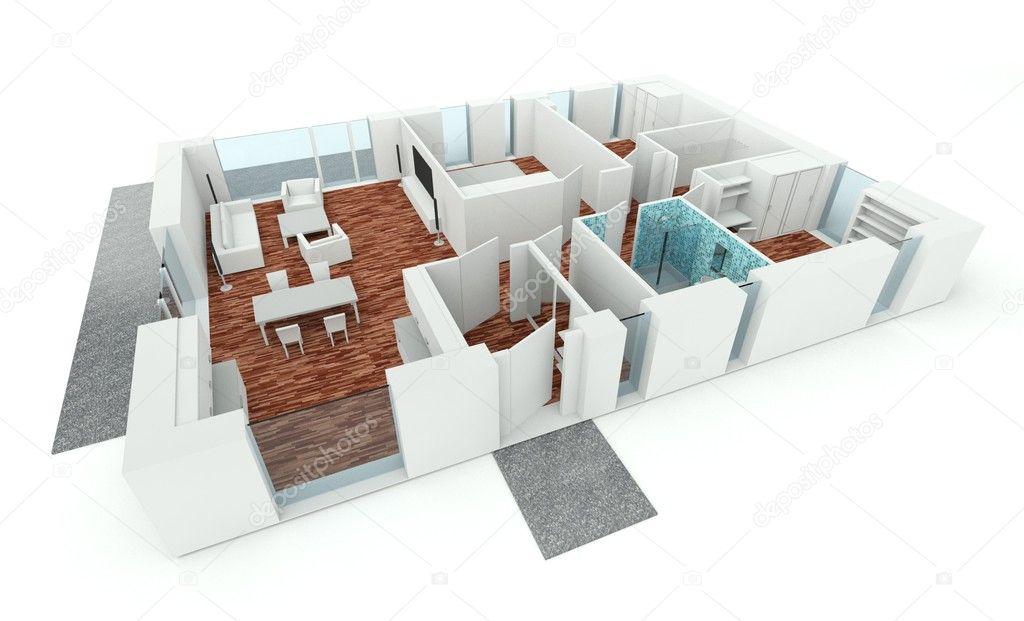3d Rendering House Plan Stock Photo Leszekglasner 8017280