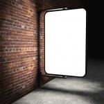 3d Blank street advertising billboard on brick wall at night — Stock Photo