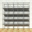 3d scaffolding and renovated wall — Stock Photo