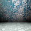 3d grunge interior, blue rusty wall — Stock Photo