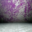 3d grunge interior, violet rusty wall — Stock Photo