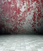 3d grunge interior, red rusty wall — Foto Stock