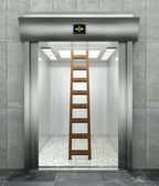 3d modern elevator with ladder — Stock Photo
