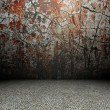 3d cracks wall and pavement, red texture interior — Stock Photo