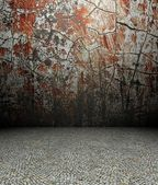 3d cracks wall and pavement, red texture interior — 图库照片
