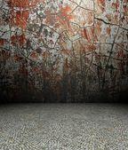 3d fissures mur et pavement, rouge texture intérieur — Photo