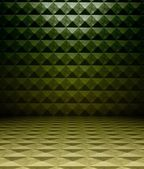 3d metal square tiles, green texture interior — Stock Photo