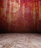 3d rusty metal wall — Stock Photo
