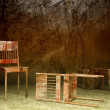 3d old wooden chairs - Foto Stock