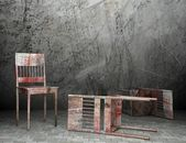 3d old wooden chairs — Stock Photo
