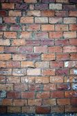 Bricks wall scratched with cement texture — Stock Photo