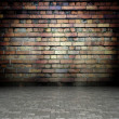 Stock Photo: 3d wall with brick texture, empty interior